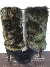*MISMATCH* UGG AUSTRALIA AVA EXPOSED FUR TALL HEELED BOOTS BLACK R 6 L 6.5 $275