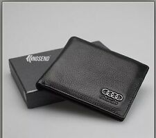 AUDI Wallet black Cow Leather Bifold Men Purse Car Pouch Auto Notecase