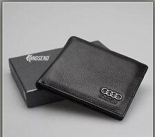 AUDI Wallet black Cow Leather Bifold Men Purse Car Pouch Auto Notecase