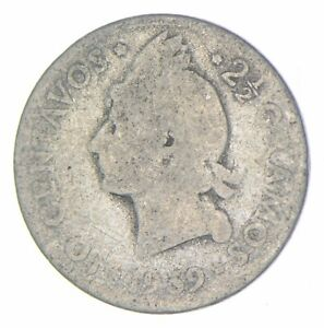 Roughly Size of Dime 1939 Dominican Republic 10 Centavos World Silver Coin *156