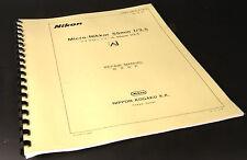 Micro-NIKKOR 55 3,5 Reparaturanleitung Repair Manual 20FL19K-R.2119.A 108-03-025