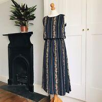 Navy Blue Green Brown Floral Patterned Stripe Print Long Sleeveless Dress 10