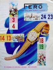 vintage 1958 color print ad FERO Swiss Suisse watch movement MID CENTURY ART