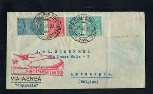 1932. AIR MAIL. ZEPPELIN COVER. PORTO ALEGRE-FRIEDRICHSHAFEN-ANTWERP. 4xSTAMPS.