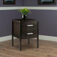 Transitional 2-Drawer Nightstand Wooden Bed Side Storage End Table Dark Brown