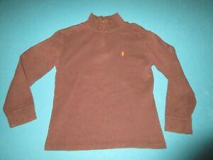 POLO RALPH LAUREN Boys Brown 1/4 Zip Pullover Size Medium M 12/14