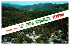 Postcard Greetings From Green Mountains Vermont VE State Capital Aerial View
