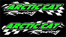 "Arctic Cat racing checker snowmobile 2 sticker decal set 11""x48"" white"