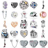 European Silver Charms Lucky Beads Enamel Pendants Fit 925 Sterling Bracelets