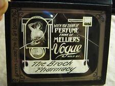 Vtg  Perfume Melliers Vogue The Brock Pharmacy Advertising Negative Glass Slide