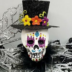 Top Hat Sugar Skull Ornament Day of the Dead Glitter Feathers Halloween Cmas