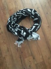 Karl Lagerfeld Large Scarf Wrap Shawl Tassels Black White