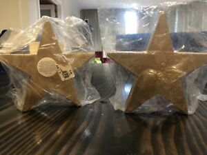 "6.5"" Gold Star Candles Set Of 2 Vintage Old Hew Stock Free Domestic Shipping"