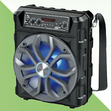"8"" Bluetooth 1200 Watts LED LIGHTS FM Radio Karaoke Speaker ZONE ONE Black"