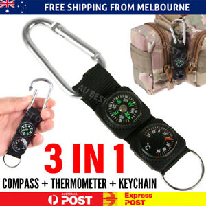 3-in-1 Compass Thermometer Outdoor Hiking Tactical Survival Carabiner Key Ring