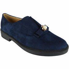 New Womens Ladies Suede Slip On Flat Low Heel Faux Suede Deck Loafers Shoes Size