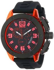 Marc Ecko Mens UNLTD The Tran Chronograph Red Transparent Case Black Watch NEW