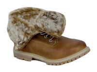 Timberland Earthkeepers Womens Brown Leather Roll Top Fur Lined Boots