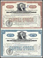 Lot of 2: 1930s & 1940s New York Central Railroad Stock Certificates, Vanderbilt