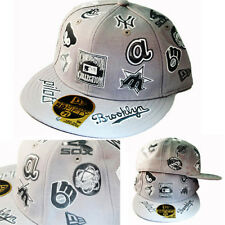 New Era MLB All Over Team Logo 5950 Vintage Grey Fitted Hat Cooperstown Classic