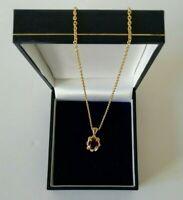 Gold Tone Red Stone Diamante Petite Pretty Pendant Necklace Dainty Sweet Chain
