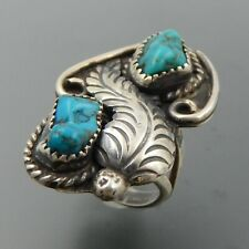 VINTAGE NAVAJO STERLING SILVER TURQUOISE NUGGETS FEATHER SPLIT SHANK RING (4.5)