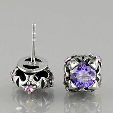 earrings stainless steel purple made with SWAROVSKI crystal vintage style stud