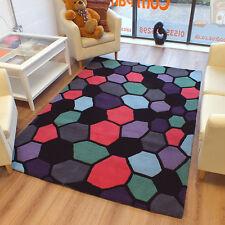 Bargain 100% Wool Large Black Pink Purple Rug RRP £99.99 Now £69.99 1.2m x 1.8m