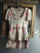 Whistles 2-piece skirt and blouse beige and pink silk UK 12