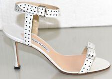 NEW Manolo Blahnik TRAGAMOD Leather Sandals Perforated Black White Shoes 39.5