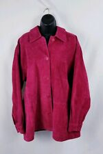 MARGARET GODFREY Woman Plus RASPBERRY SUEDE Leather JACKET Coat Size 1X Red Pink