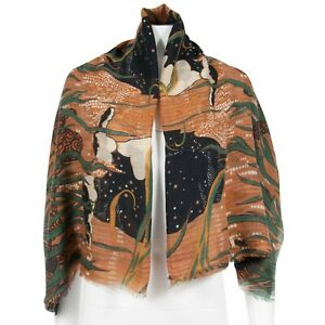 Gucci Brown Green Orange St Kama Cashmere Extra Large Tiger Shawl Scarf Cover Up