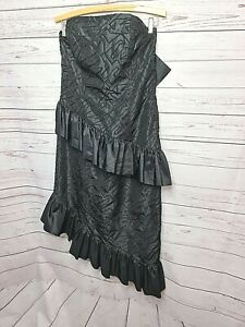Vintage Oblique size 14 80s black strapless Taffeta Prom Party Bridesmaid Dress