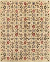 Oriental Super Kazak Area Rug Wool Hand-Knotted Geometric All-Over IVORY 8x11