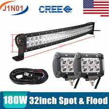 """CREE 180W 32inch Curved LED Light Bar Offroad RZR DRIVING LAMP 18W 4"""" Harness 30"""