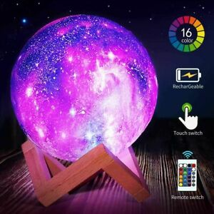 USB Star Night Light Kids Galaxy LED 3D Print Moon Lamp 16 Color W/ Stand Remote
