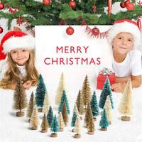24pcs Mini Sisal Bottle Brush CHRISTMAS TREES Snow Frost Village Pin Tree Decor