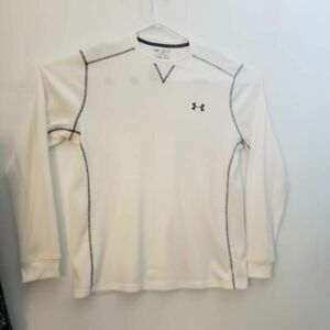 Under Armour Cold Gear Mens Thermal Shirt Ivory Loose Fit Long Sleeve Crew XL