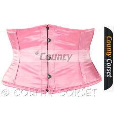 Shaper Cincher MINI Vestaglia Stecche Acciaio waistbust rosa sexy corsetto in Satin
