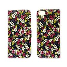 CASE FOR APPLE IPHONE 5 PINK WHITE YELLOW TEXTURED FLOWER PRINT PU LEATHER COVER