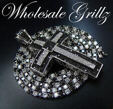 """Simulate BLACK Diamond 14k White Gold Gp 24"""" Chain + CUSTOM Matching Cross Combo"""