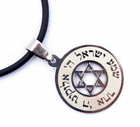 pendant&cord Jewish Prayer Shema Israel & Star of David Judaica Stainless silver