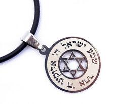 "pendant&black cord Jewish ""Shema Israel""/Star of David Judaica Stainless-silver"