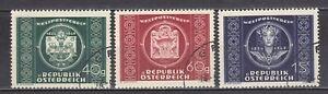 AUSTRIA used 1949 SC# Nr 565 - 567  75th Anniv. of UPU