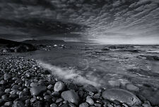 Incorniciato stampa-ROCK Peddle Black & White Beach (PICTURE POSTER Oceano mare ART)