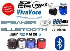 MINI SPEAKER PORTATILE LETTORE MP3 USB RADIO FM MICRO SD PC cassa amplificata