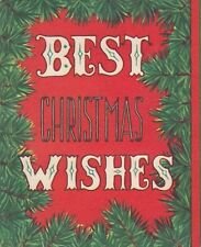 Best Christmas Wishes 1940s Pollyana Card Unused Greeting Card with Envelope
