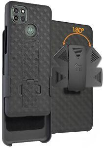Black Case Cover and Belt Clip Holster for Motorola Moto G9 Power Phone XT2091-3