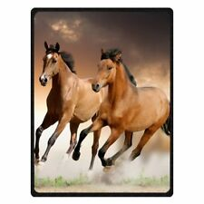 """Running Horse Blanket 50"""" x 60"""" Warm Fuzzy Micro plush Fleece Couch or Bed Throw"""