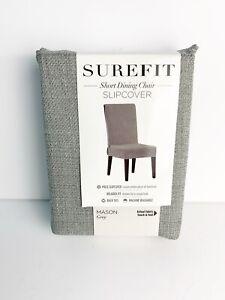 SureFit Mason Gray Short Dining Chir Slipcover Cover
